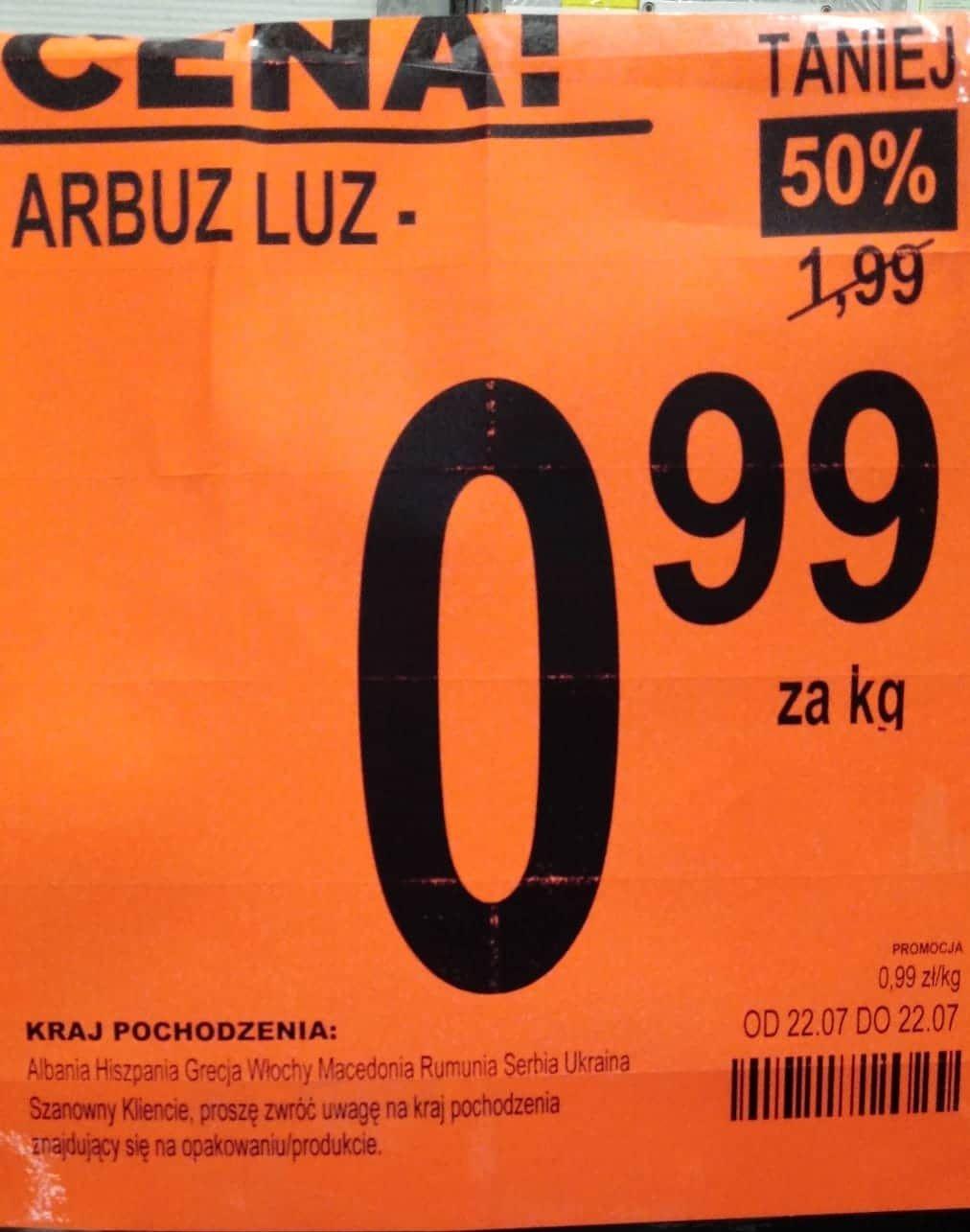 Arbuz w cenie 0.99zł/kg - Biedronka