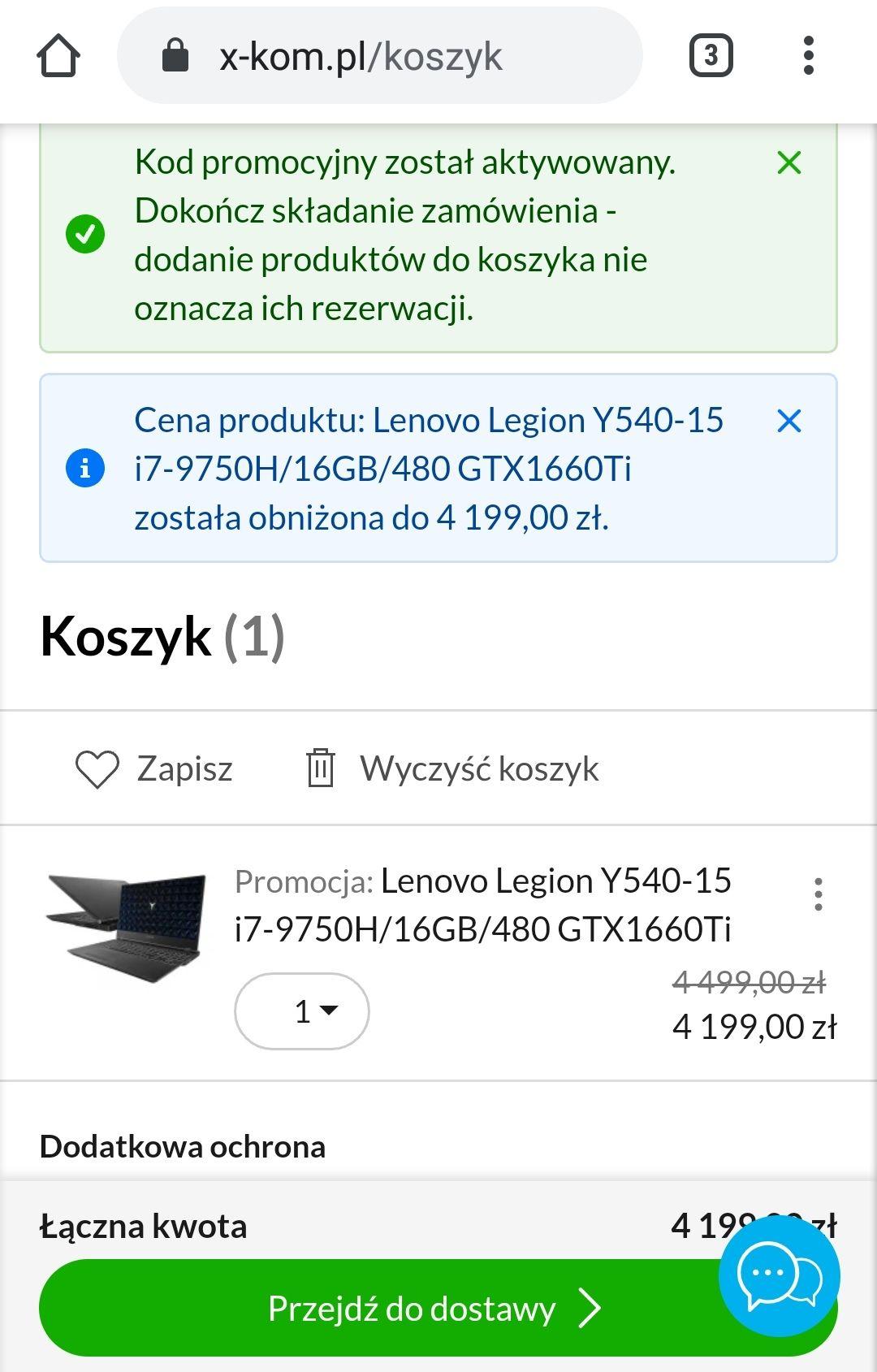 Lenovo Legion Y540-15 i7-9750H/16GB/480 GTX1660Ti - Do 12% rabatu w X-kom na wybrane laptopy Lenovo