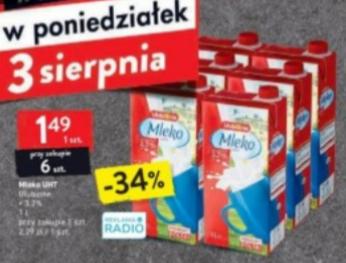 Mleko UHT 3,2% 1l przy zakupie 6szt. Intermarche