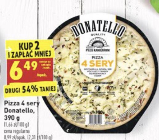 Pizza Donatello 4 sery. Cena za opakowanie przy zakupie dwóch sztuk @Biedronka