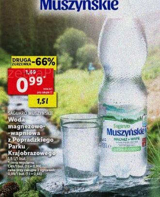 Woda magnezowo-wapniowa Saguaro Muszyńskie 1,5l przy zakupie 12 butelek @Lidl