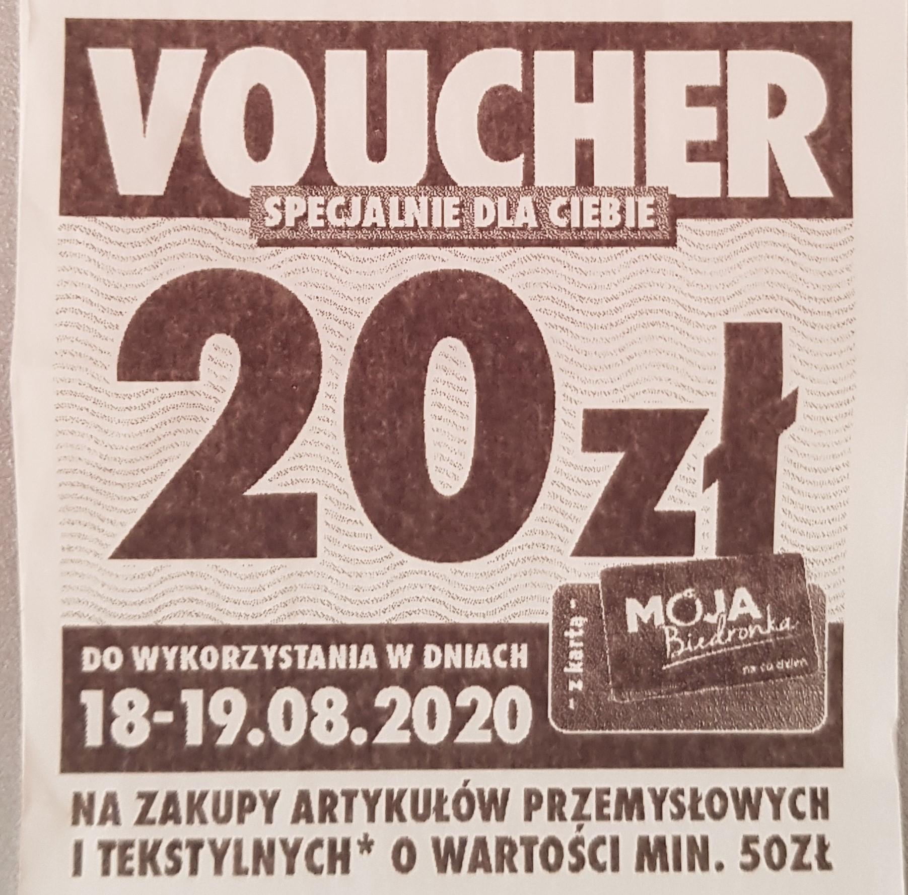 [Biedronka] Voucher o wartości 20 zł na zakup artykułów przemysłowych i tekstylnych. MWZ 50 zł