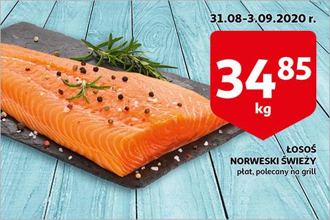 Łosoś norweski świeży płat na auchan (cena za KG)