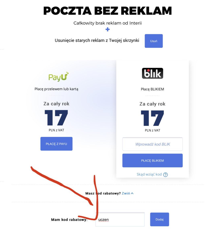 Poczta Interia - konto bez reklam na rok