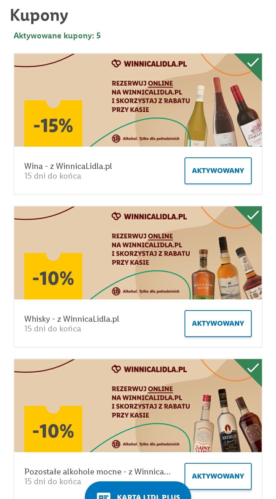 Kupony na alkohol w aplikacji Lidl Plus, -10% whisky i inne mocne alkohole, -15% wino