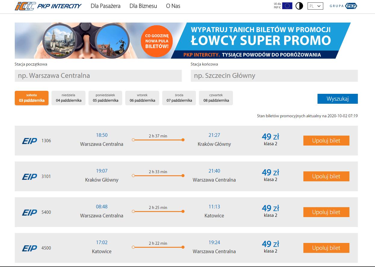 Łowcy Super Promo - InterCity udostępnia wyszukiwarkę tanich połączeń