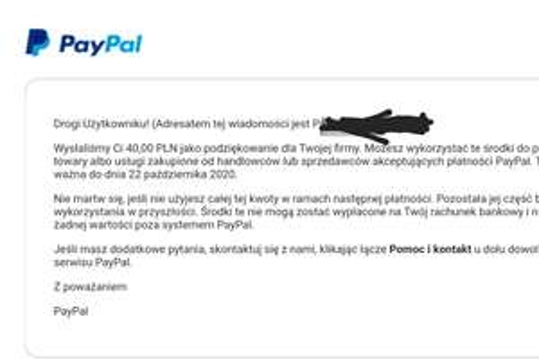 Kod na 40 pln od paypal