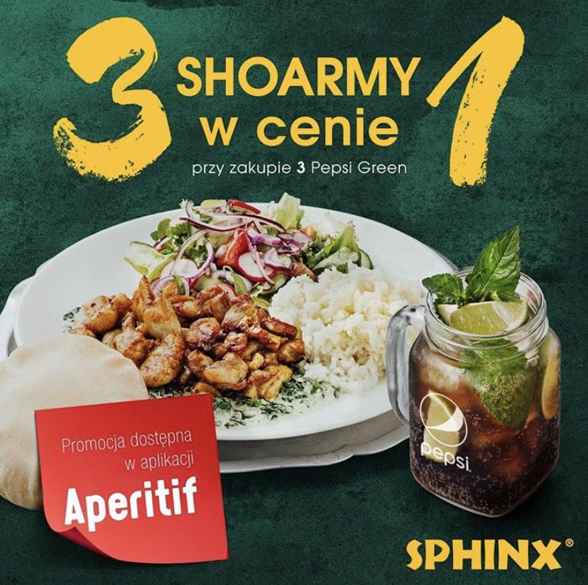 3 Shoarmy w cenie 1 w Sphinxie przy zakupie 3 Pepsi Green!