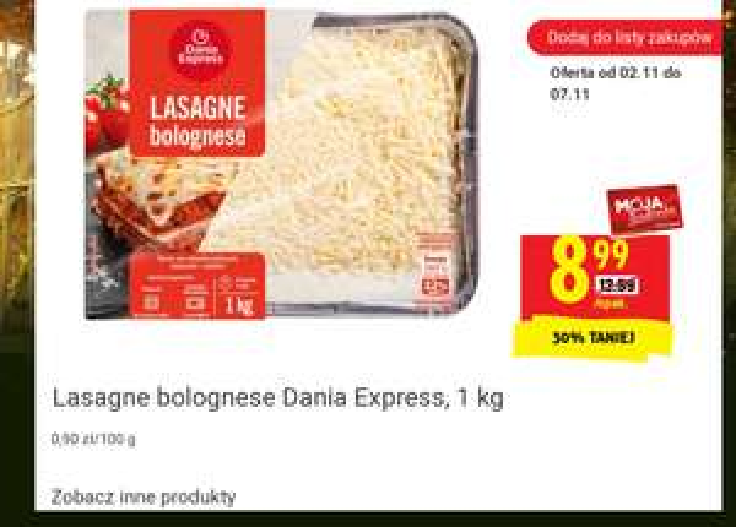Lasagne Bolognese 1 kg z kartą MB @Biedronka
