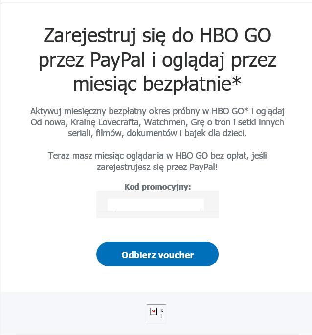 HBO GO miesiąc za darmo od PayPal