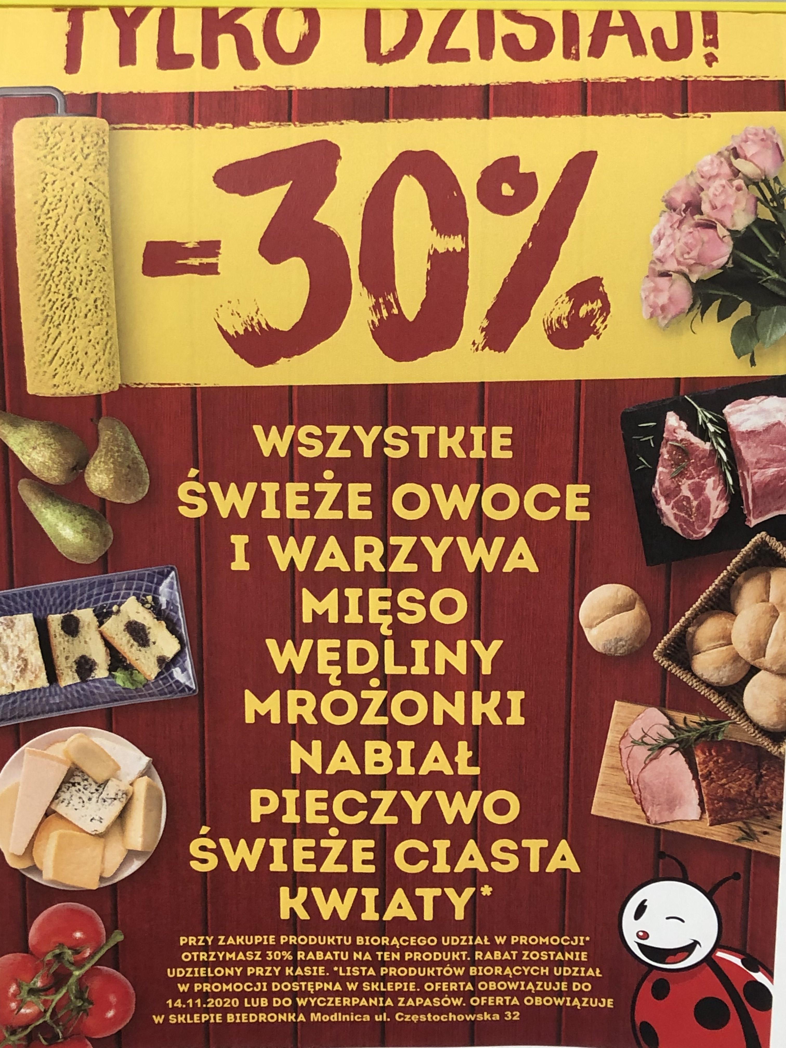 Biedronka Modlnica k.KRK -30% świeże i mrożonki, -50% przemysłowe i tekstylia