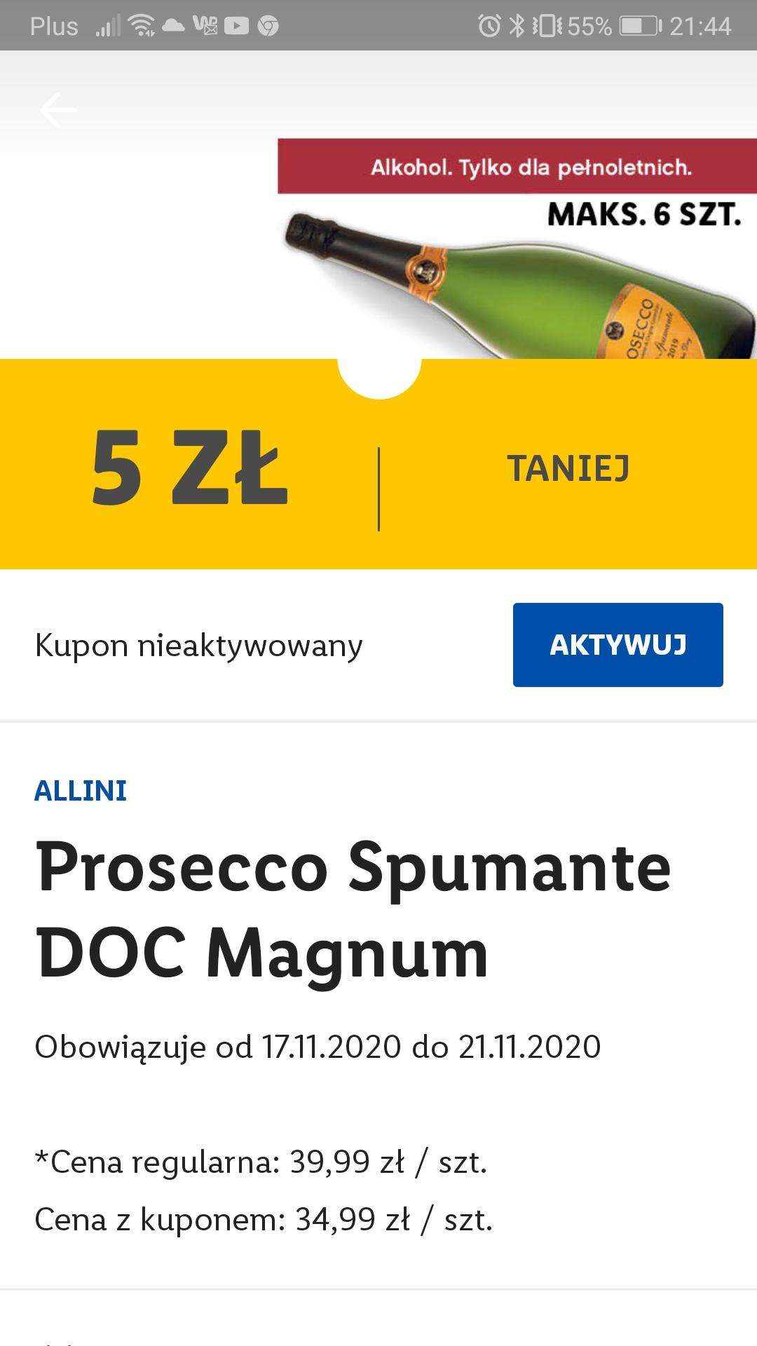 Prosecco 1,5 l z aplikację Lidl Plus 5 PLN taniej