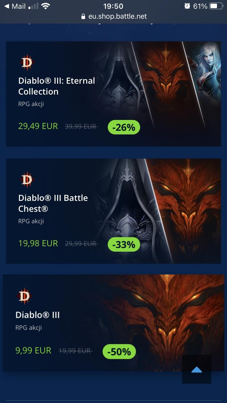 Obniżka w Blizzard - Diablo 3 (9,99€) i dodatki do -50%