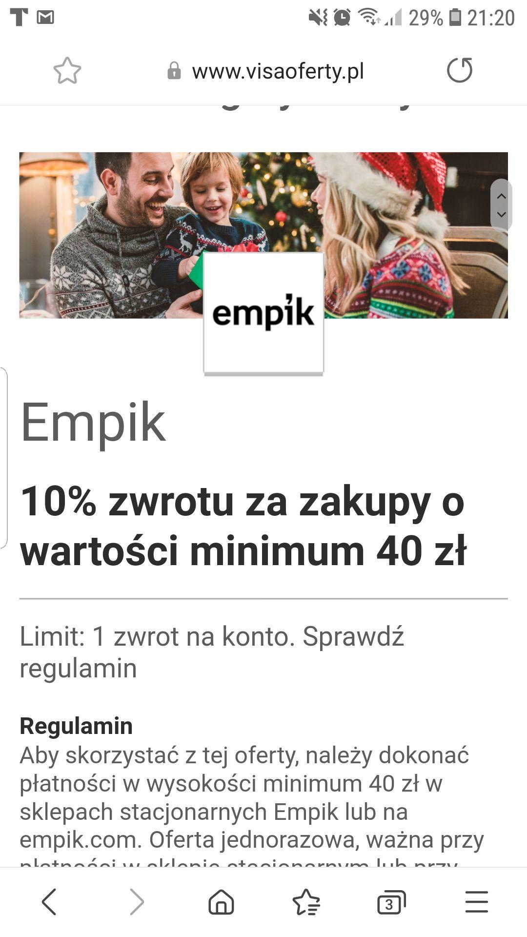 Visa 10% zwrotu za zakupy w EMPIK o wartości minimum 40 zł