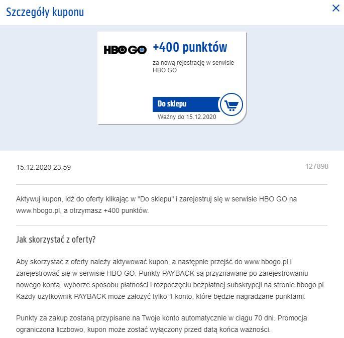 HBO GO +400 punktów payback za założenie nowego konta i wykorzystanie okresu próbnego