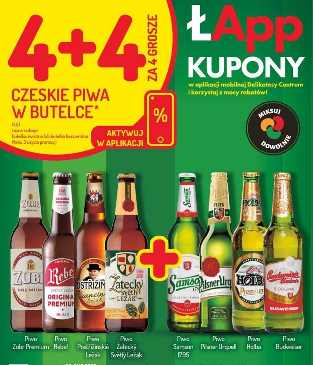 Czeskie piwa w butelce 4 + 4 za darmo (4gr) mix dowolnie - Mila