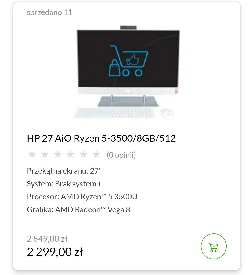 "HP 27 AiO HP Ryzen 5-3500/8GB/512 Przekątna ekranu: 27"" System: Brak systemu Procesor: AMD Ryzen™ 5 3500U Grafika: AMD Radeon™ Vega 8"