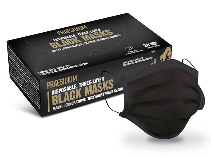 Maski jednorazowe 3-warstwowe,czarne