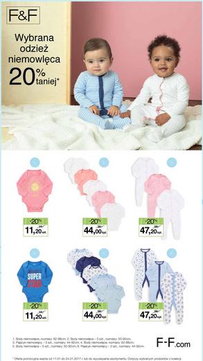 Trzy pajace za 47,20zł (-20% na odzież niemowlęcą F&F) @ Tesco