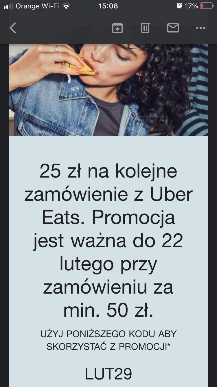 -25zł na kolejne zamówienie w Uber Eats