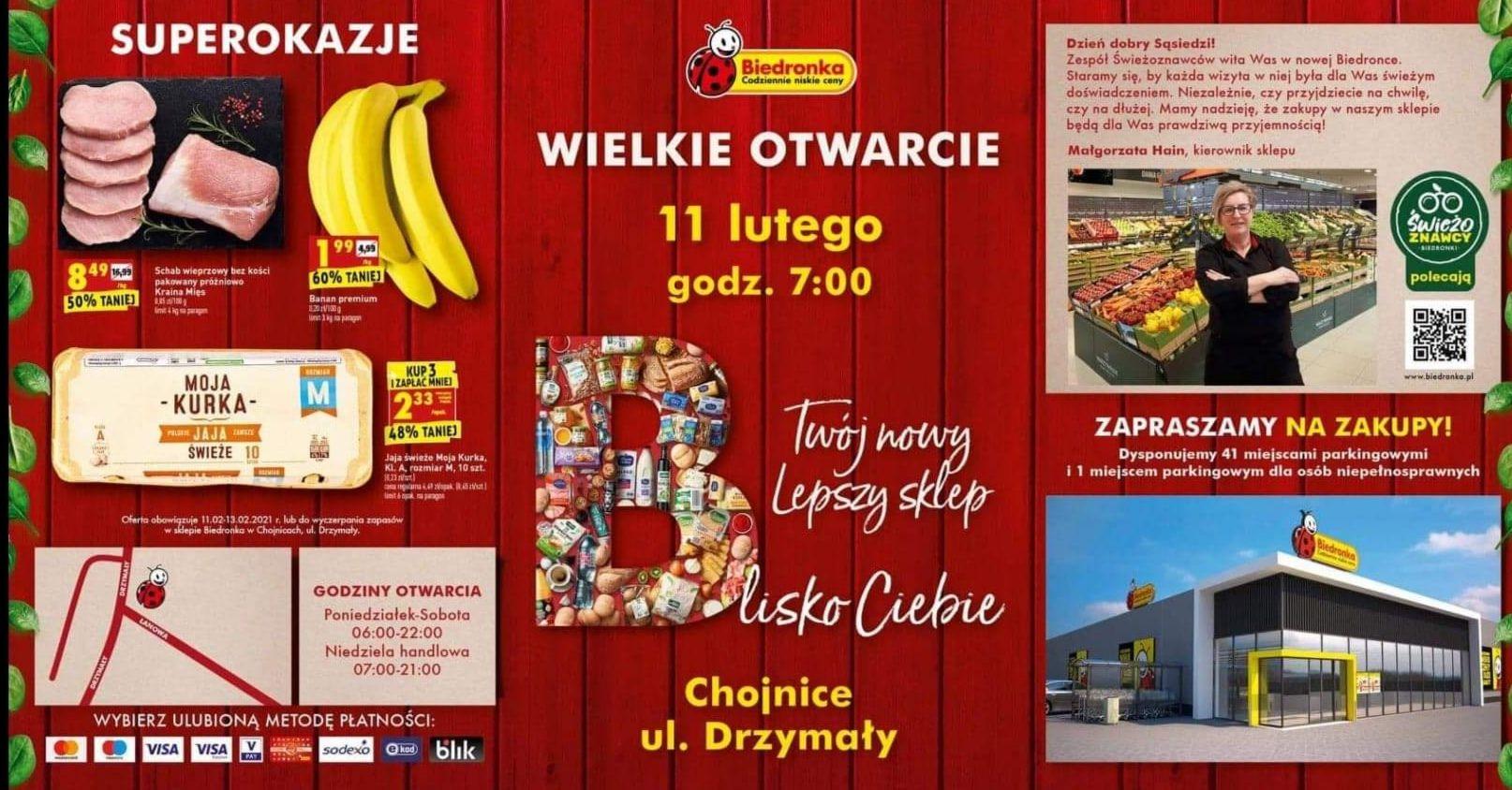 Otwarcie Biedronki w Chojnicach, np. banany