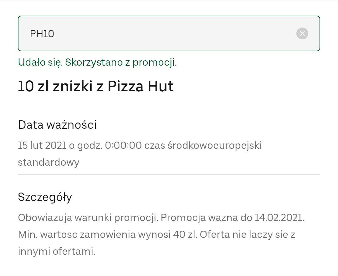Uber Eats, promocja w pizza hut -10zl (MWZ 40)