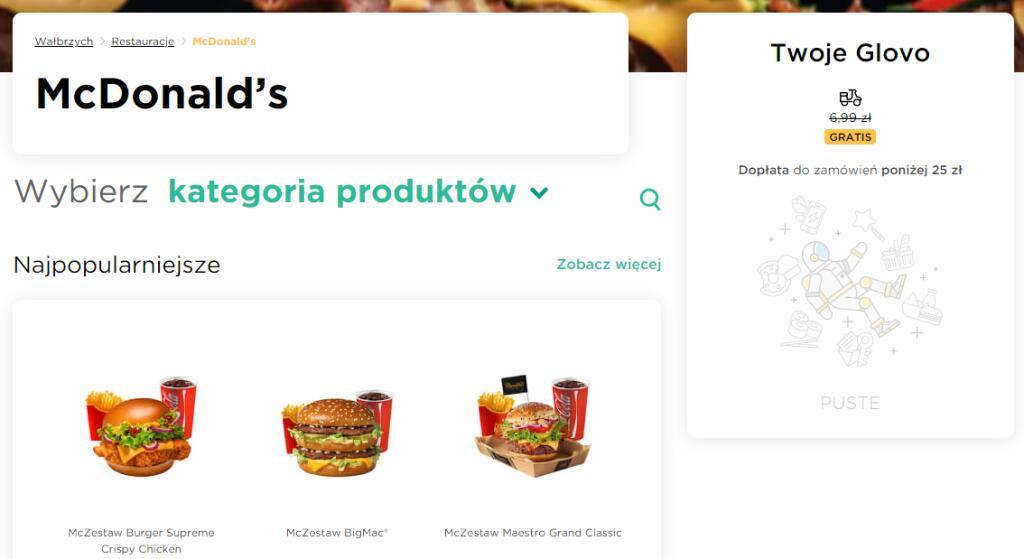 McDonald dostawa GLOVO w Wałbrzychu
