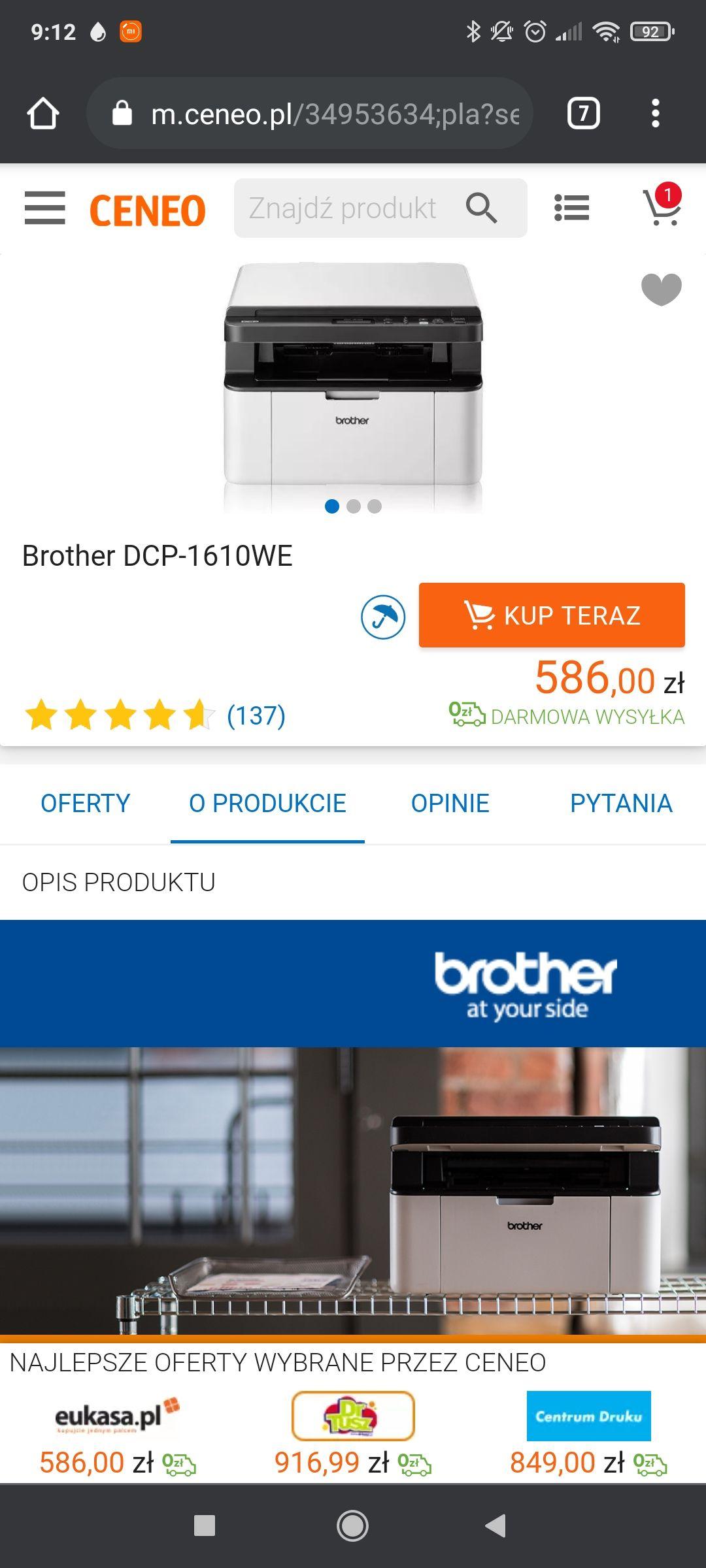 Urządzenie wielofunkcyjne Brother DCP - 1610WE