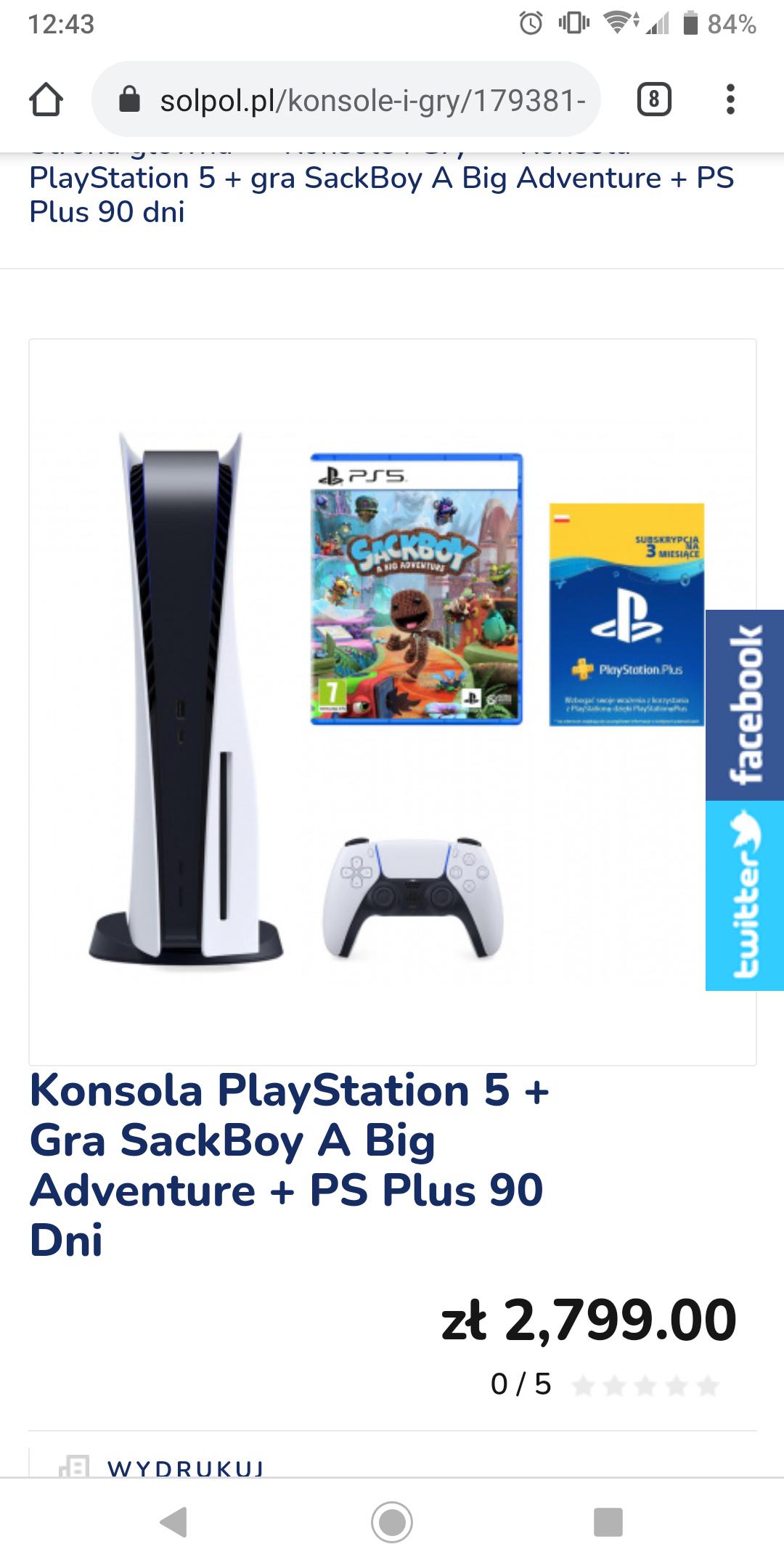 Playstation 5 z napędem, gra Sackboy, ps plus 3 miesiące