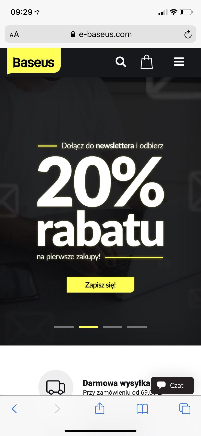 Sklep Baseus -20% na wszystko- newsletter