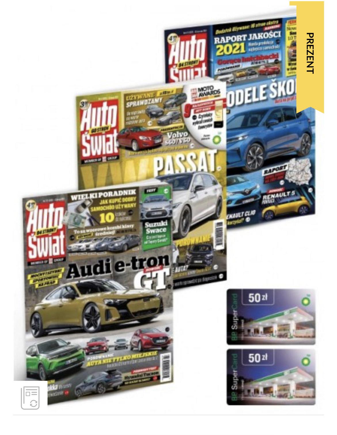 Roczna prenumerata Auto Świat + bon 100zl na stacji BP(np. Na paliwo)
