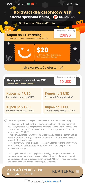 Kupony Aliexpress 30$ za 2$ (trzeba ustawić język aplikacji na Polski)