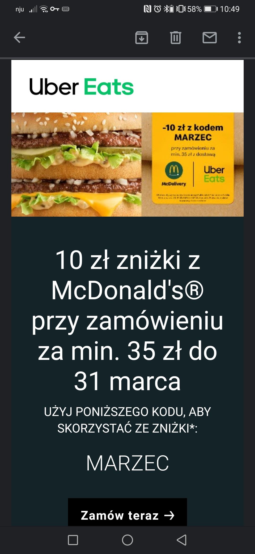 -10 zl do Mc Donalds z Uber Eats 35 zl MWZ
