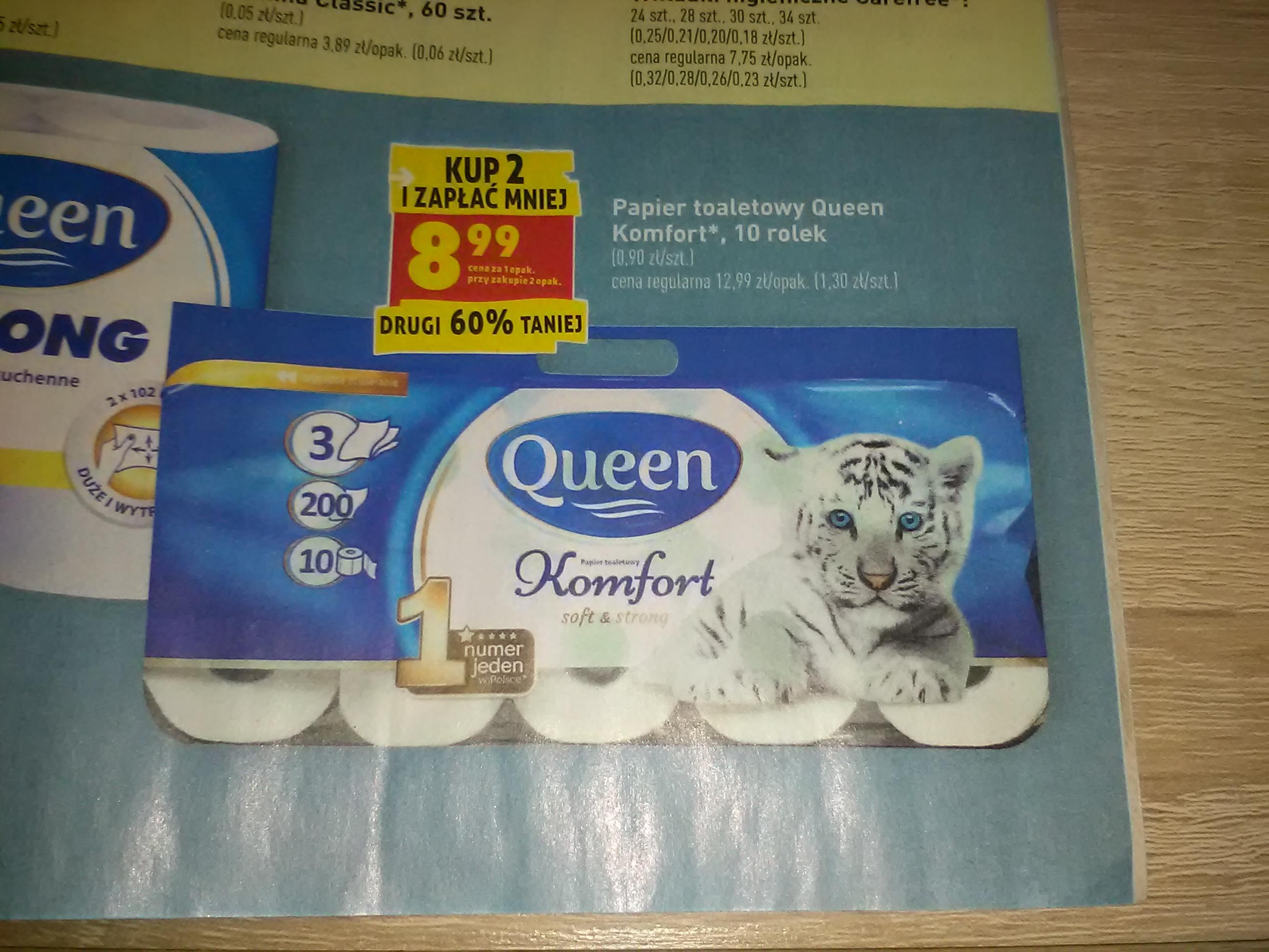 Papier toaletowy queen komfort 10 rolek kup 2 zapłać mniej