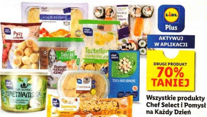 Wszystkie produkty Chef Select i Pomysł na każdy dzień. Drugi 70% taniej. Np. Zupy świata po 3,89zł. Lidl