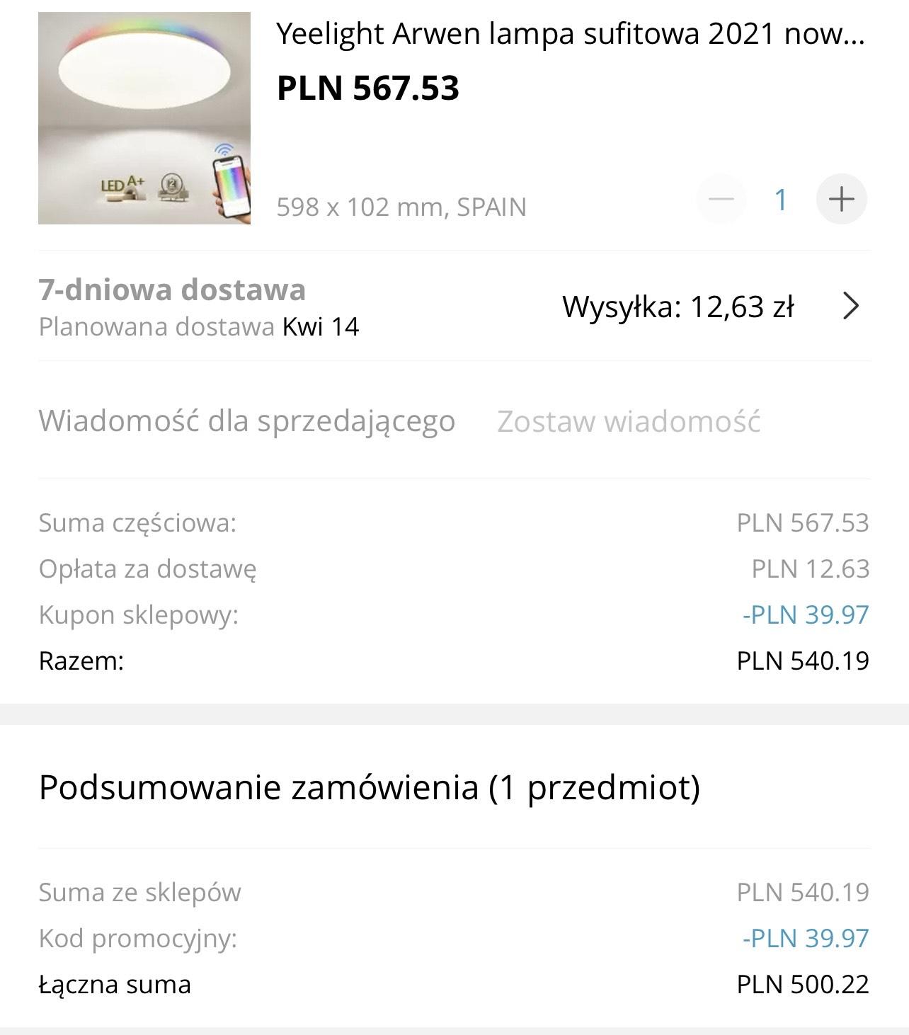 Lampa Yeelight Arwen 550C z Hiszpanii ($127)