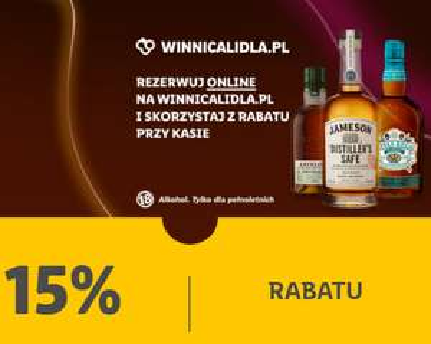 Alkohole mocne na Winnicy Lidla 15% taniej (Whisky, wódka, rum...). Lidl