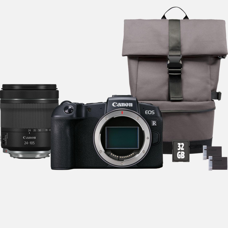 Canon EOS RP + obiektyw RF 24-105mm IS STM + plecak + karta pamięci SD + zapasowy akumulator