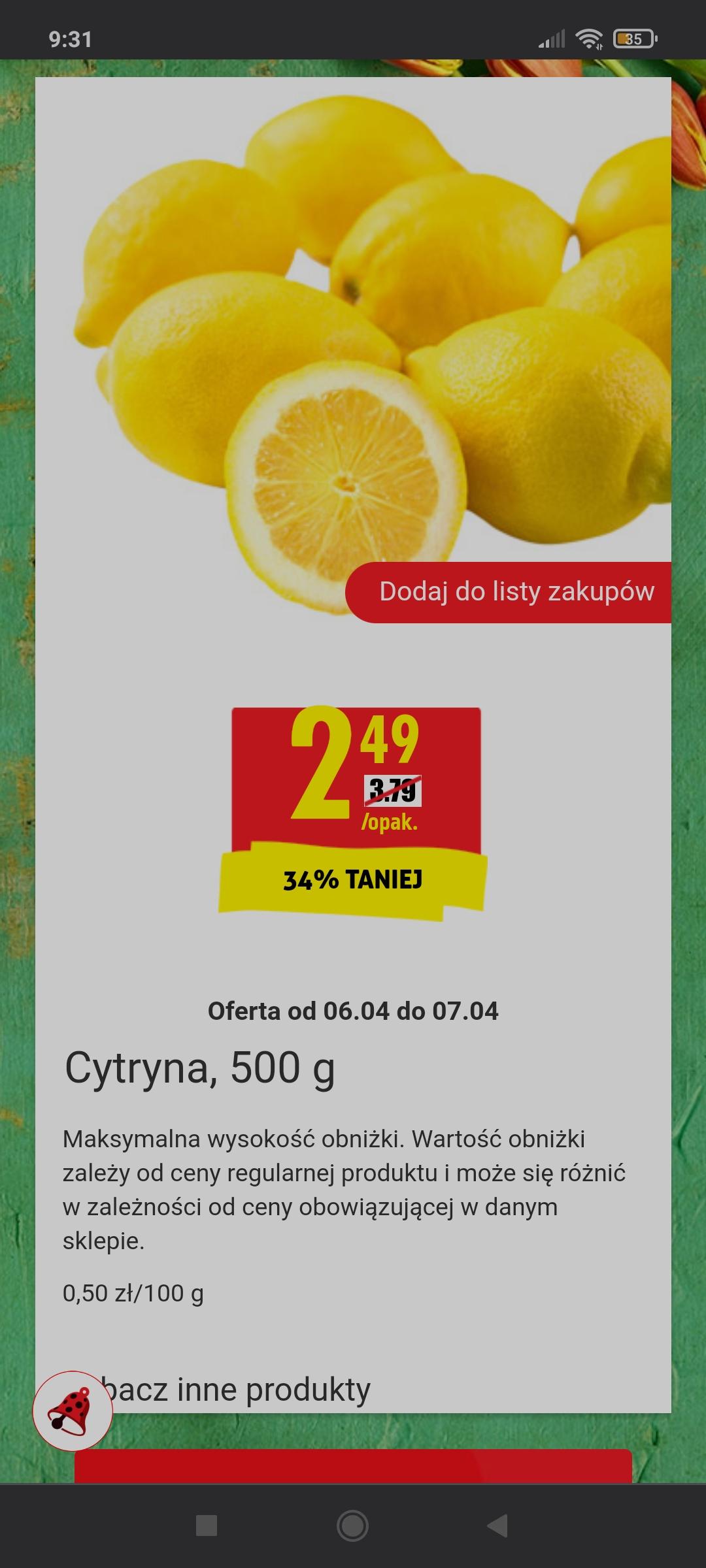 Cytryna, 500 g w Biedronce
