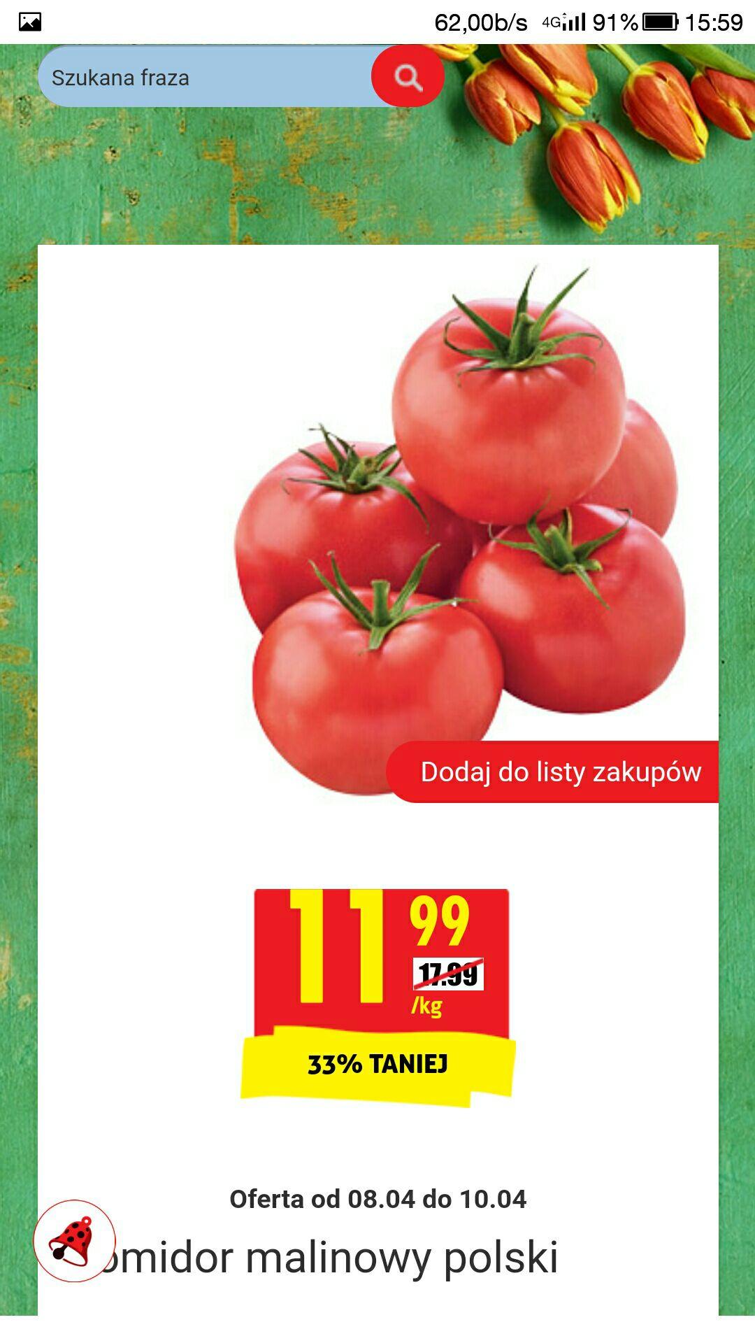 Pomidory malinowe 11.99 zł/kg w Biedronce