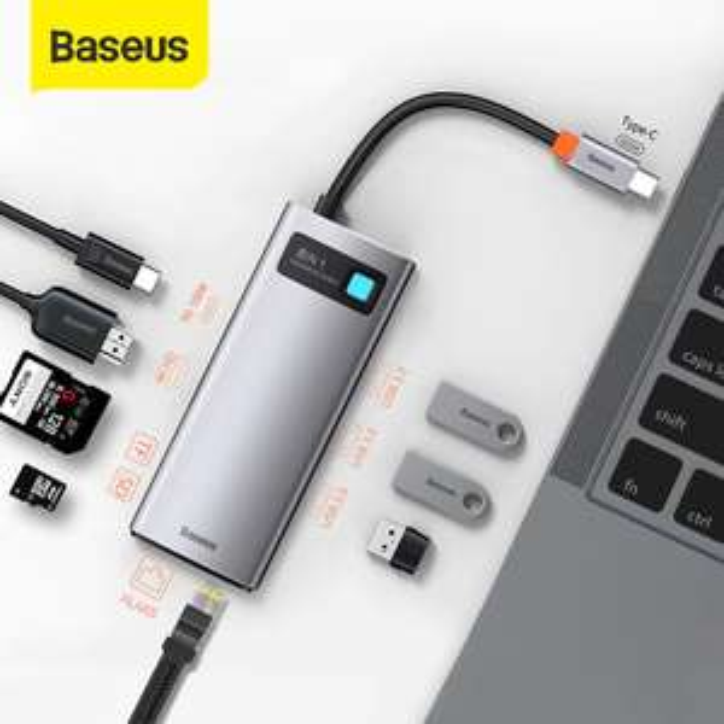 Baseus USB C HUB 4K@30 HDMI, RJ-45, 3xUSB 3.0, SD, microSD, 100W PD, 27,39$