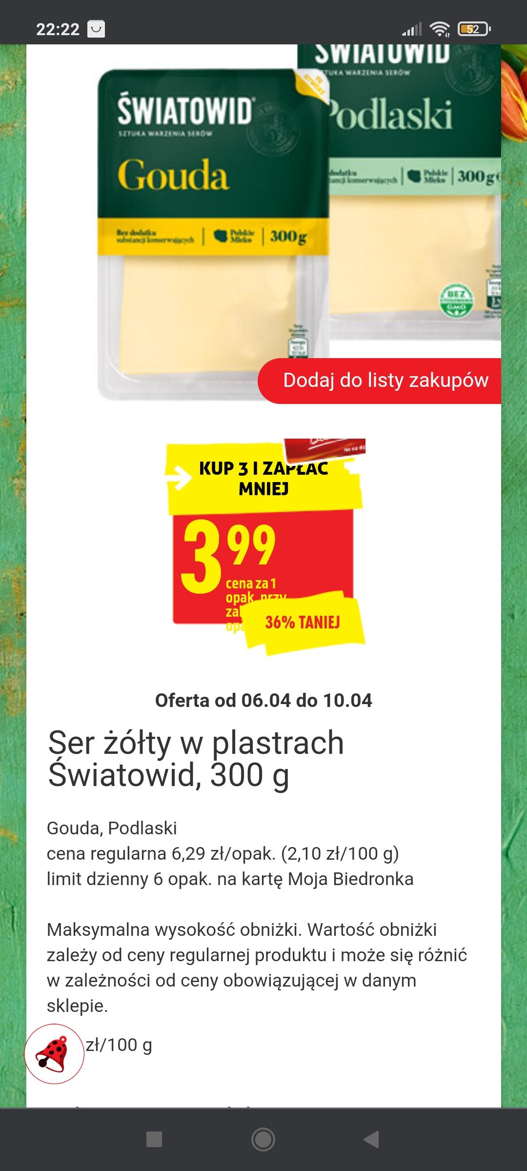 Ser żółty w plastrach Światowid, Gouda, Podlaski 300 g przy zakupie 3 opakowań z kartą MB w Biedronce