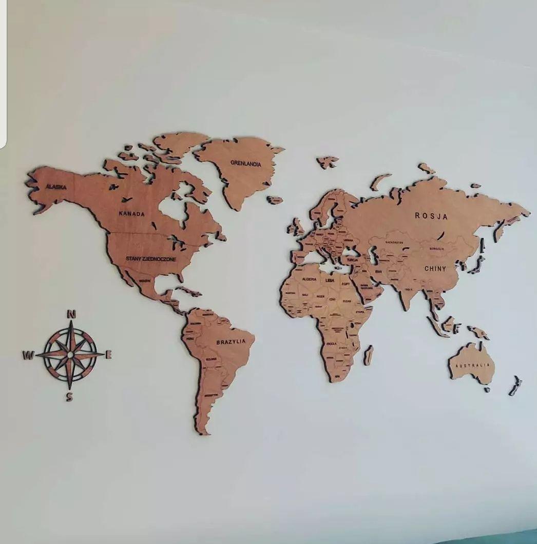 Mapa drewniana na ścianę w 3D