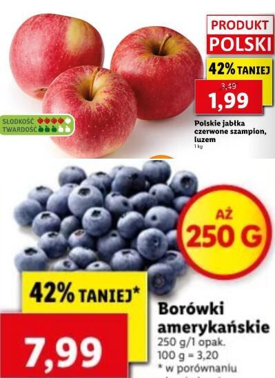 Jabłka (1,99 zł) i borówki (7,99 zł) taniej o 42%