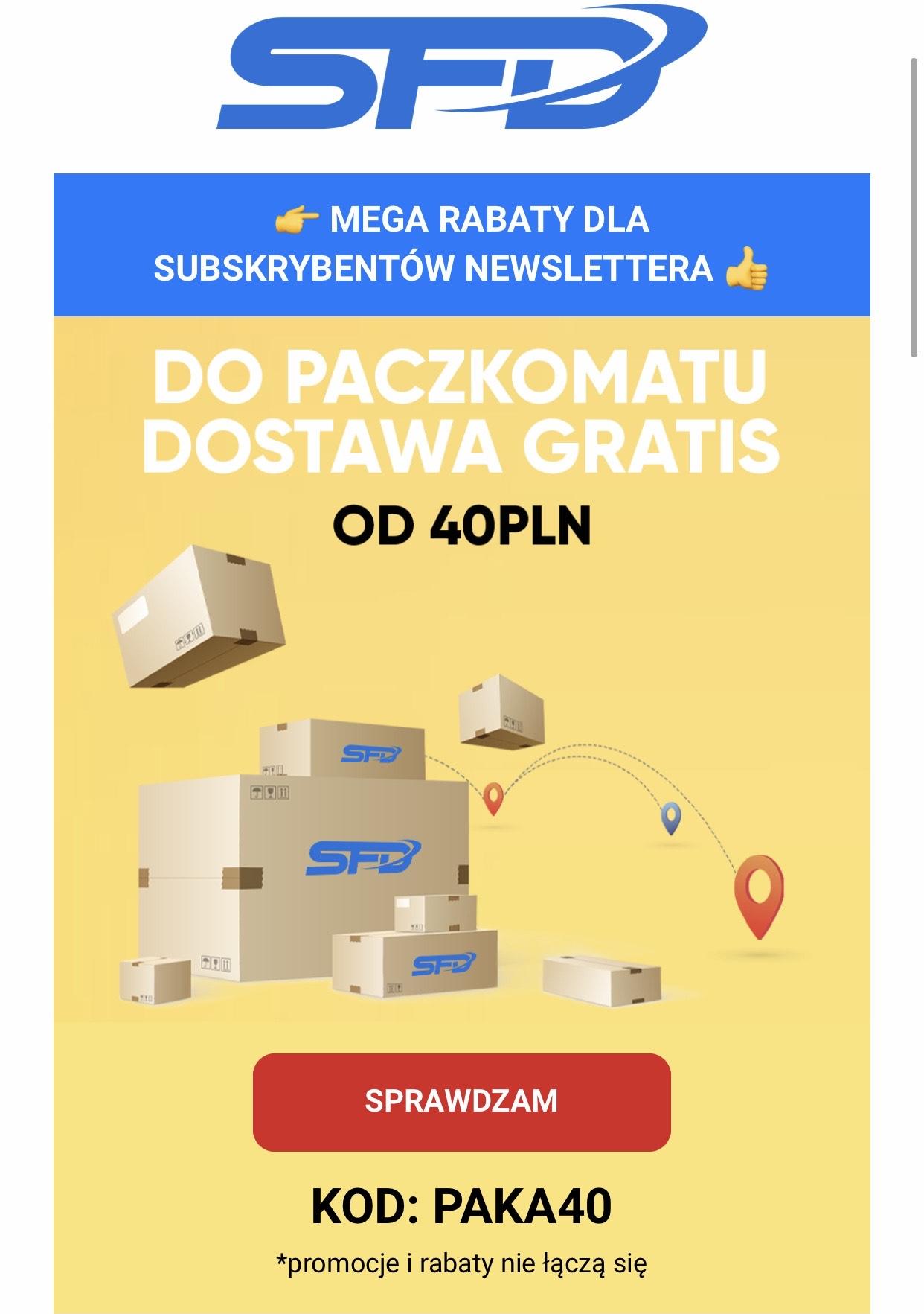 Darmowa dostawa do paczkomatu ze sklepu SFD od 40 zł