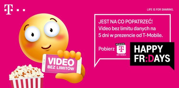 T-Mobile: Video bez limitu danych na 5 dni - Happy Friday