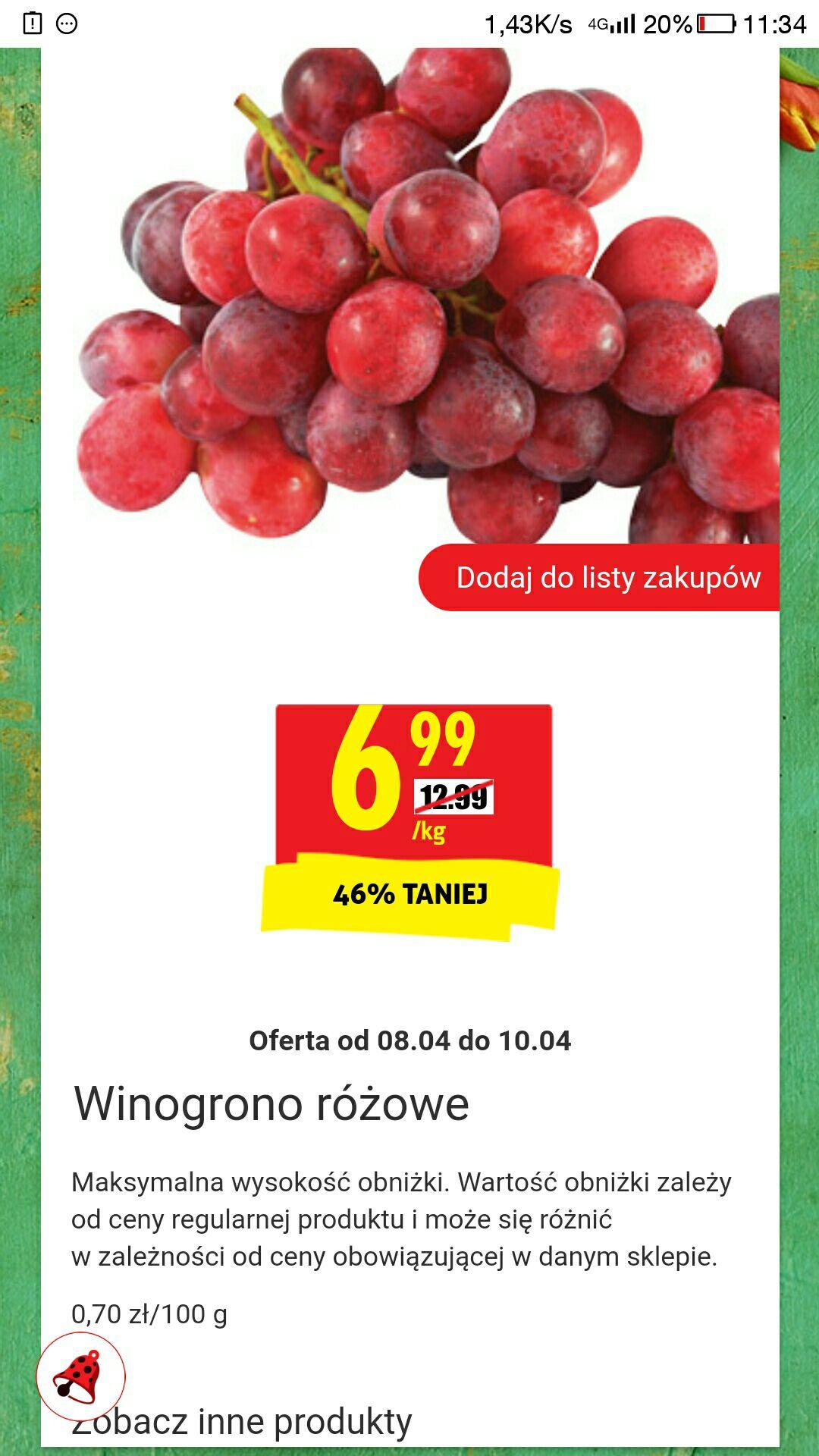 Winogrono różowe 6.99 zł/kg w Biedronce