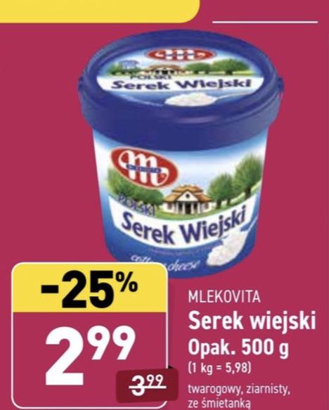 Serek wiejski Mlekovita 2,99 zł/500g @Aldi