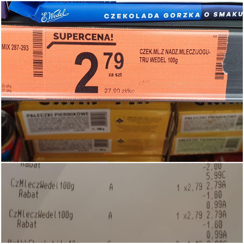 Czekolada Wedel błąd cenowy 99 groszy za 100 gramów