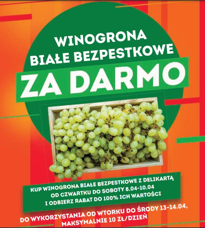 Winogrona białe bezpestkowe za darmo Delikatesy Centrum